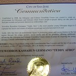 Teddy Afro accepted  an Commendation Award from the City of San Jose